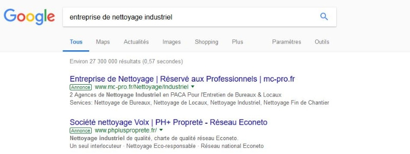 Résultats payants Google Ads